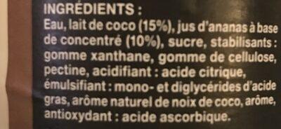 Pina Colada aromatisée - Ingredients - fr