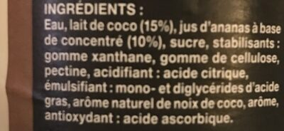 Pina Colada aromatisée - Ingrédients - fr