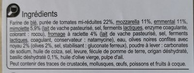 Carrefour La pizza 4 fromages - Ingredients