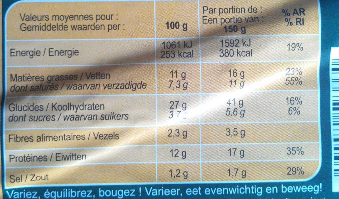 Carrefour La pizza 4 fromages - Nutrition facts