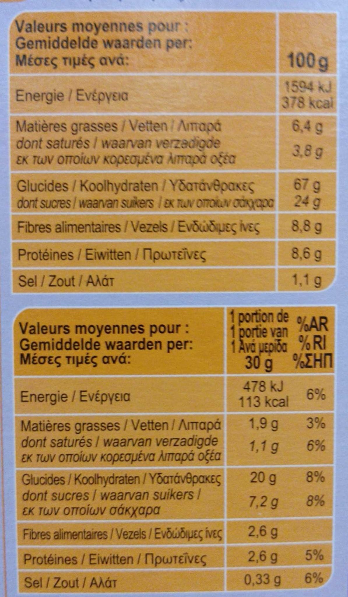 Fibra 5 Frutas y Frutos Secos - Información nutricional