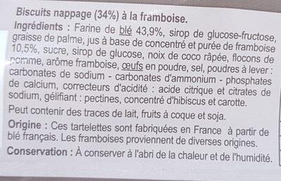 Les Tartelettes rondes A la framboise - Ingrédients - fr