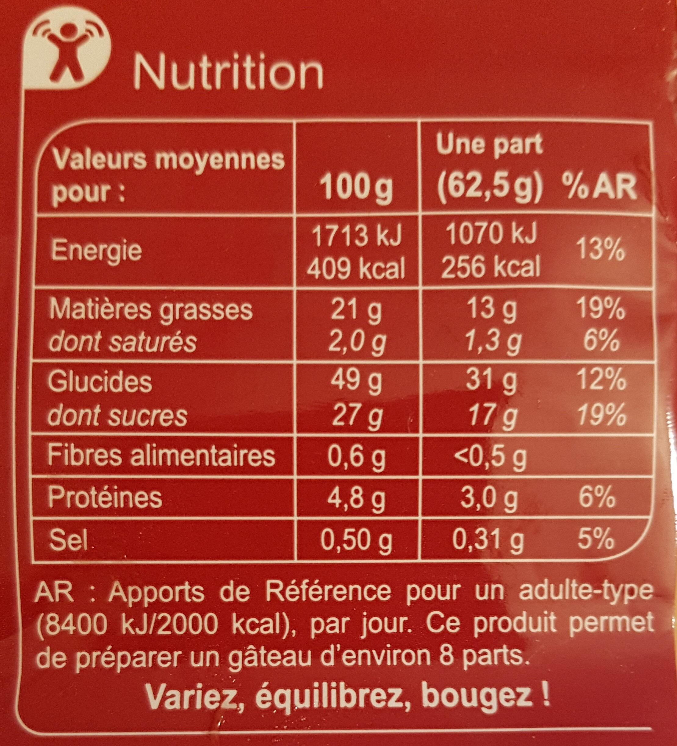 Moelleux Nature - Informations nutritionnelles - fr