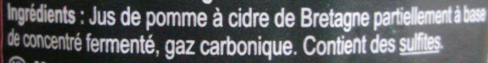 Cidre Bouché de Bretagne IGP Brut - Ingrédients - fr