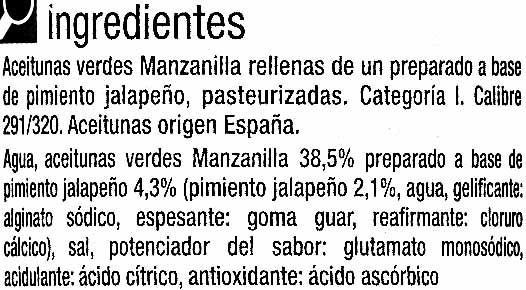 """Aceitunas verdes rellenas de jalapeño """"Carrefour"""" - Ingrédients - es"""