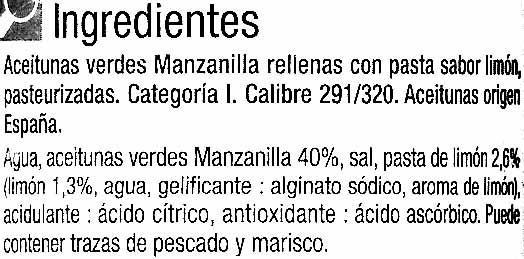 "Aceitunas verdes rellenas de pasta de limón ""Carrefour"" - Ingredients"