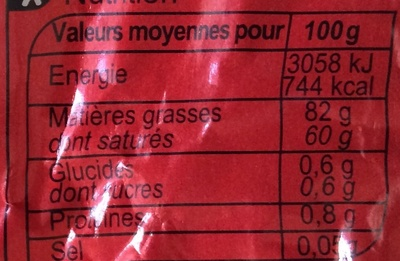 Beurre de laiterie doux - Nutrition facts - fr
