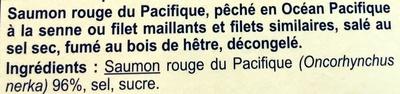 Saumon rouge du Pacifique fumé SAUVAGE - Ingrédients - fr