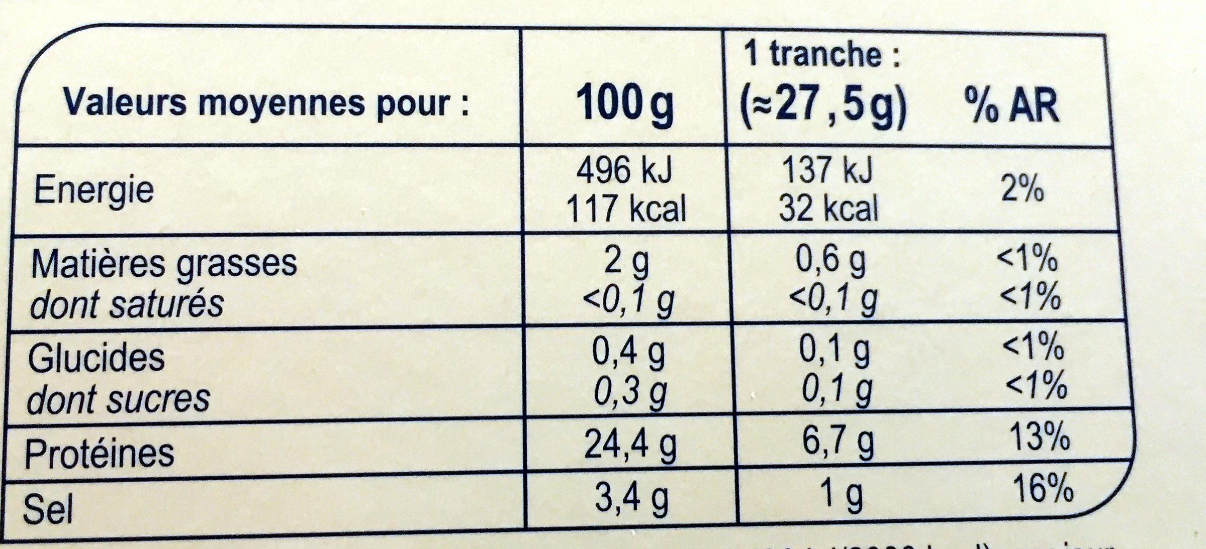 Saumon rouge du Pacifique fumé SAUVAGE - Informations nutritionnelles - fr