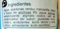 Aceituna rellena anchoa baja en sal -25% - Ingrédients - es
