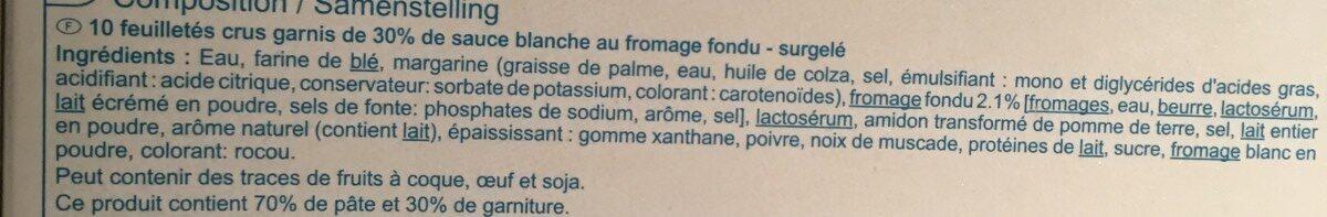 10 Feuilletés au fromage - Ingrédients - fr