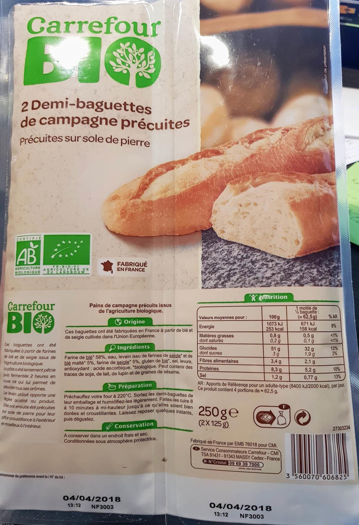 Demi-baguette De Campagne Pre-cuites x2 - 250g - Produit - fr