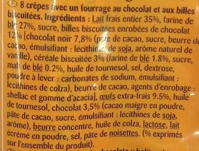 CRÊPES fourrage au Chocolat et aux billes biscuitées - Ingredients