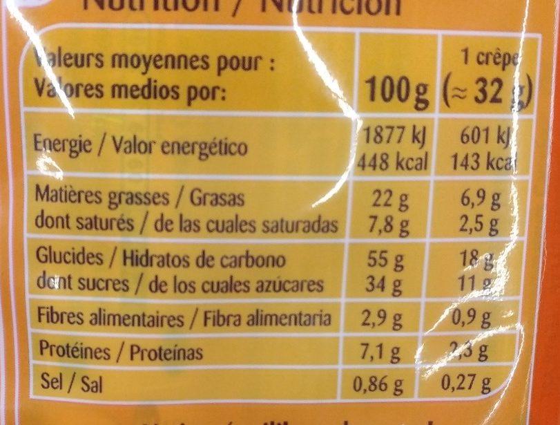 CRÊPES fourrage au Chocolat et aux billes biscuitées - Nutrition facts - fr