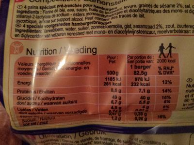 Maxi Burger - Nutrition facts - fr