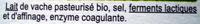 Coulommiers Bio (22 % MG) - Ingrediënten - fr