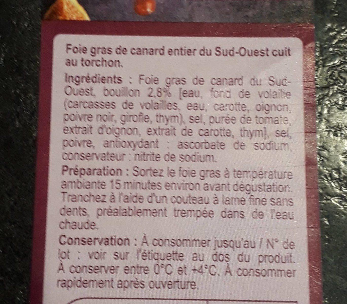 Foie gras de canard entier du sud-ouest - Ingrediënten - fr