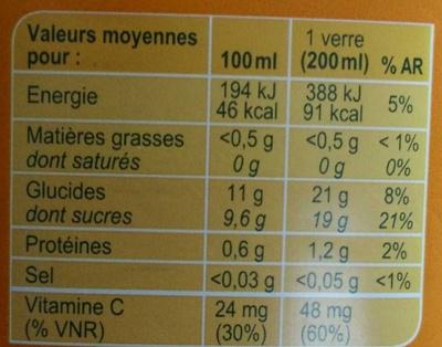 PUR JUS Orange pressée - Voedingswaarden - fr