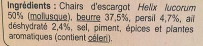 12 Escargots Préparés à la Bourguignonne - Ingrediënten - fr