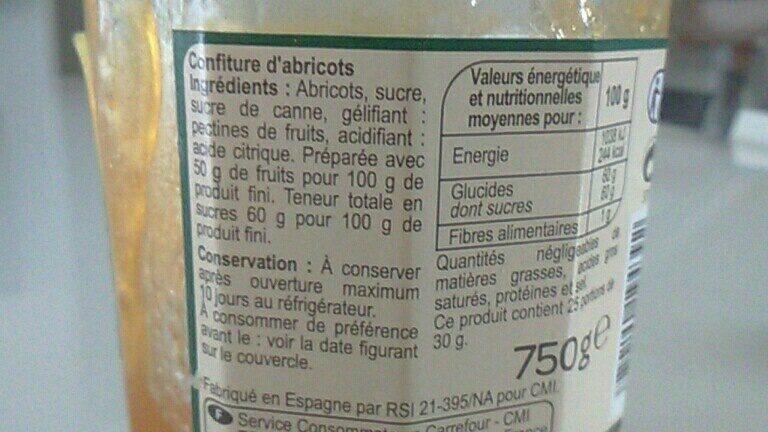 Confiture abricot - Ingrédients