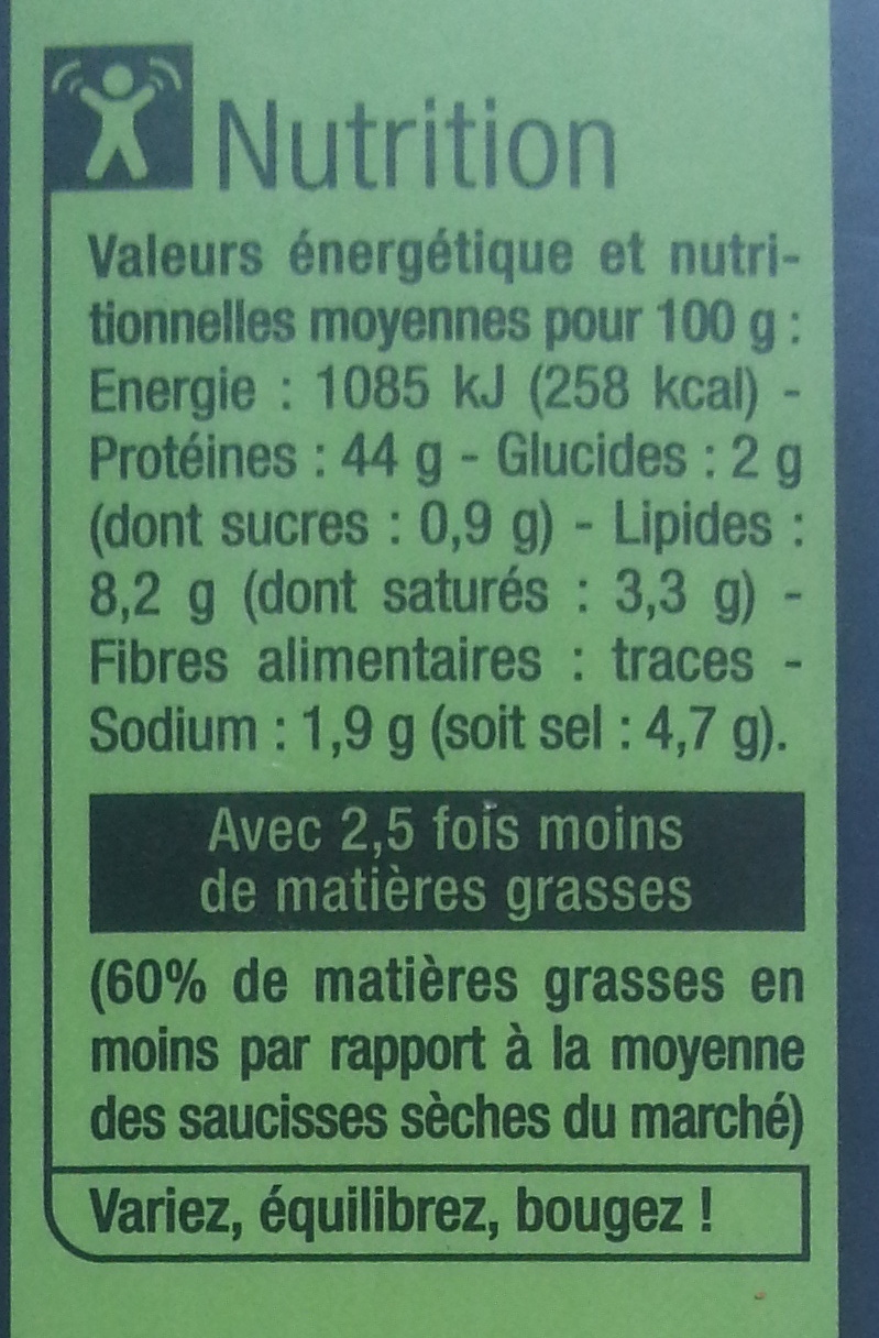 Spécialité de saucisse sèche au jambon - Nutrition facts - fr