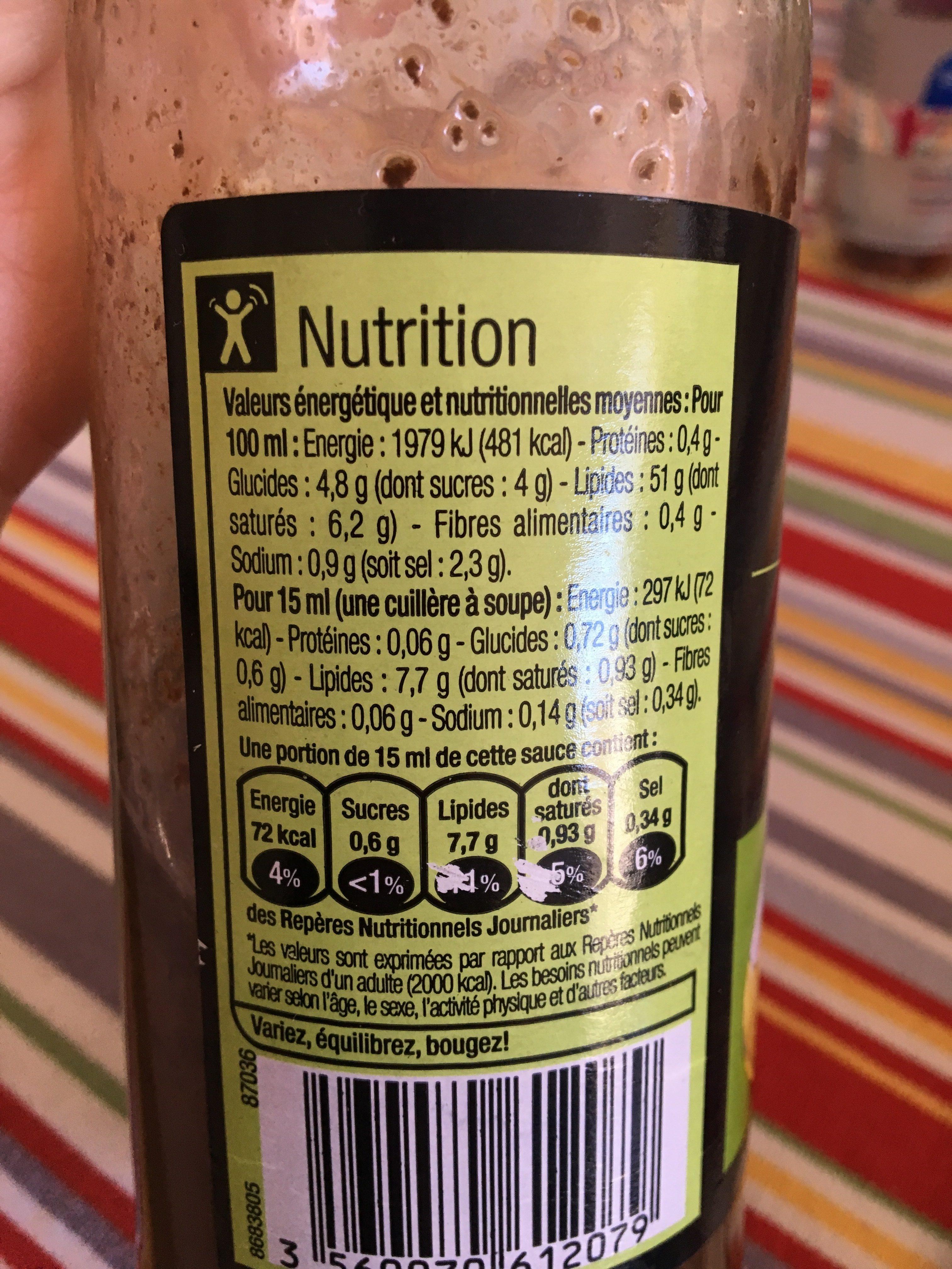 Sauce vinaigrette au vinaigre balsamique et huile d'olive - Ingrediënten