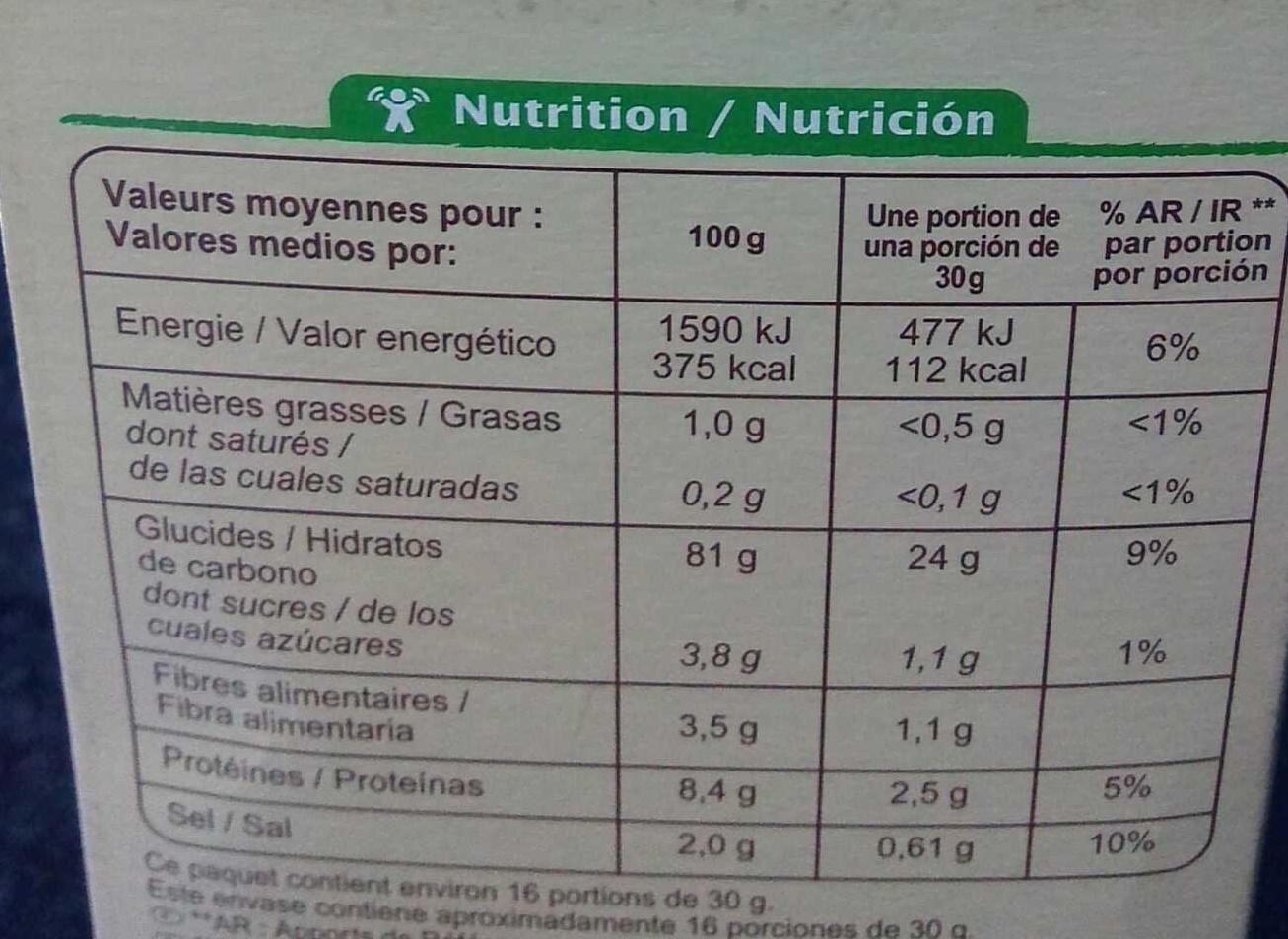 Cornflakes - Informations nutritionnelles - fr