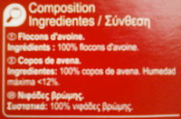 Copos de avena - Ingredients