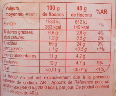 Flocon d'avoine - Nutrition facts - fr
