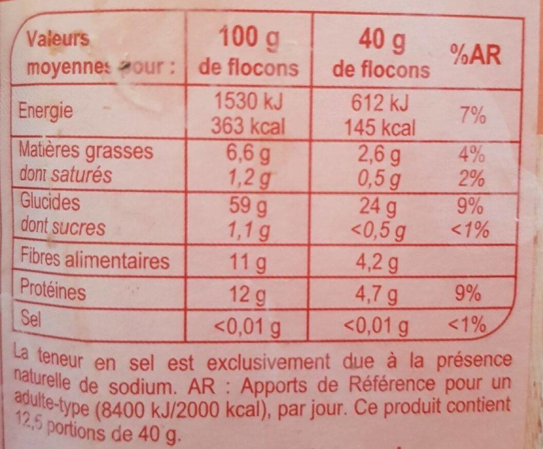 Flocon d'avoine - حقائق غذائية - fr