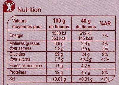 Flocon d'avoine - Valori nutrizionali - fr