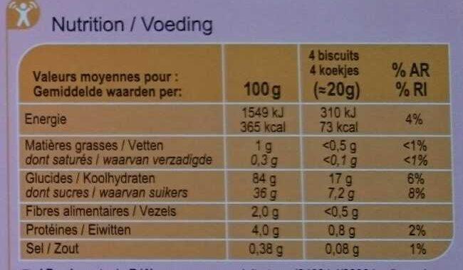 Fines gaufrettes - Voedingswaarden - fr