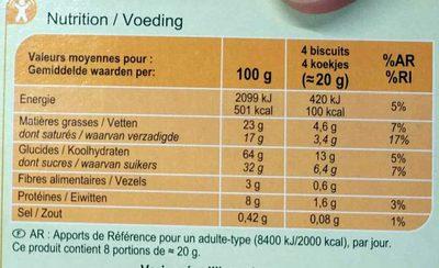 Fines gaufrettes chocolat noisettes - Informations nutritionnelles - fr