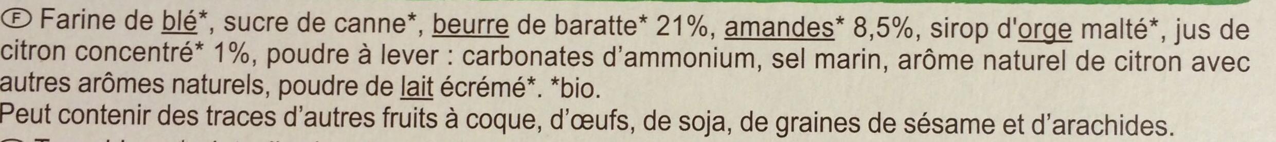 Sablés au beurre, amandes et citron - Ingrediënten - fr