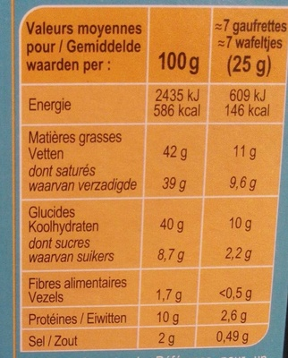 Gaufrettes aux Fromages - Nutrition facts - fr