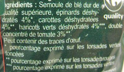 Torsade aux légumes - Ingrédients