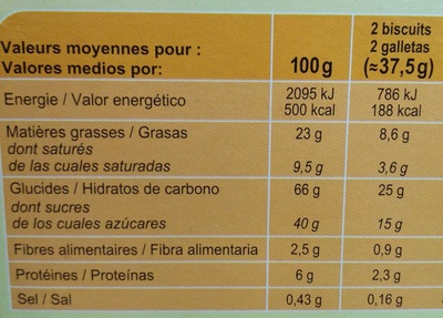 Xtrem noisette - Nutrition facts
