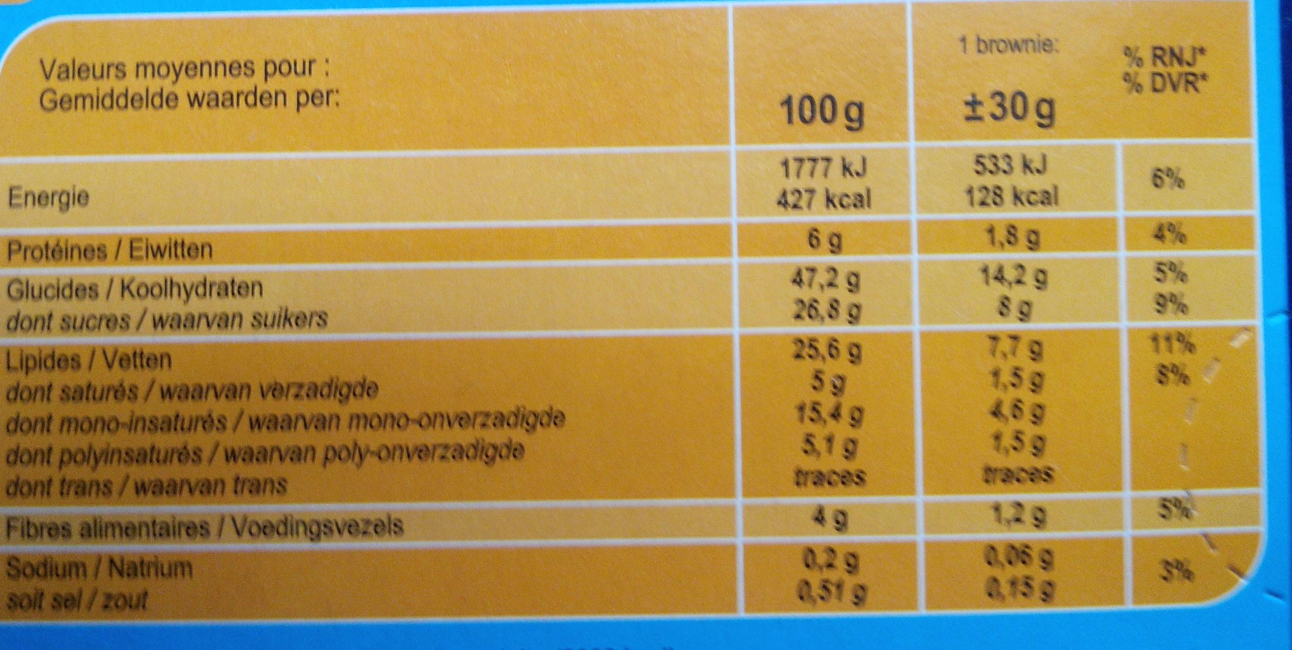 Brownie  chocolat noisettes goût noisette. - Informations nutritionnelles - fr