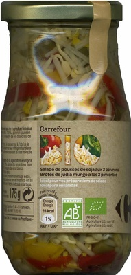 """Brotes de judía mungo en conserva ecológicas """"Carrefour Bio"""" A los tres pimientos - Producte"""