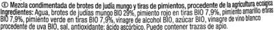 """Brotes de judía mungo en conserva ecológicas """"Carrefour Bio"""" A los tres pimientos - Ingrediënten"""