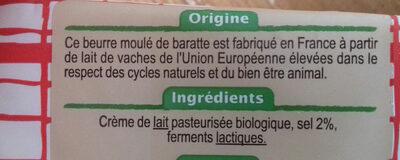 Beurre moulé de baratte Demi-sel Bio - Ingrédients - fr
