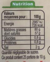 Beurre moulé de baratte Demi-sel Bio - Informations nutritionnelles - fr