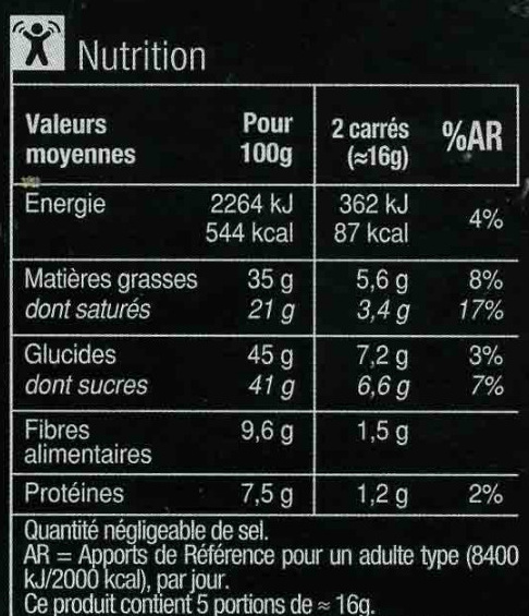 Noir  équateur boisé & fruité - Informació nutricional - fr