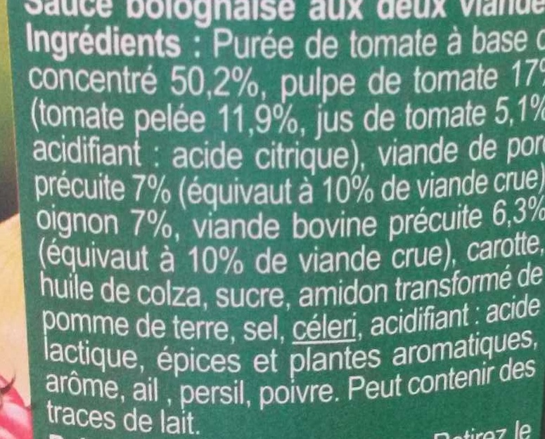 Bolognaise - Ingredients - fr