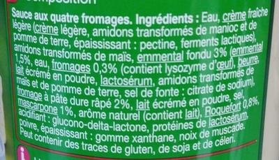 Pasta sauce, 4 Fromages - Ingrédients