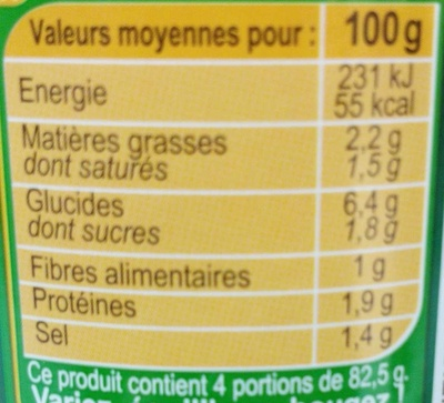Pasta sauce, 4 Fromages - Informations nutritionnelles