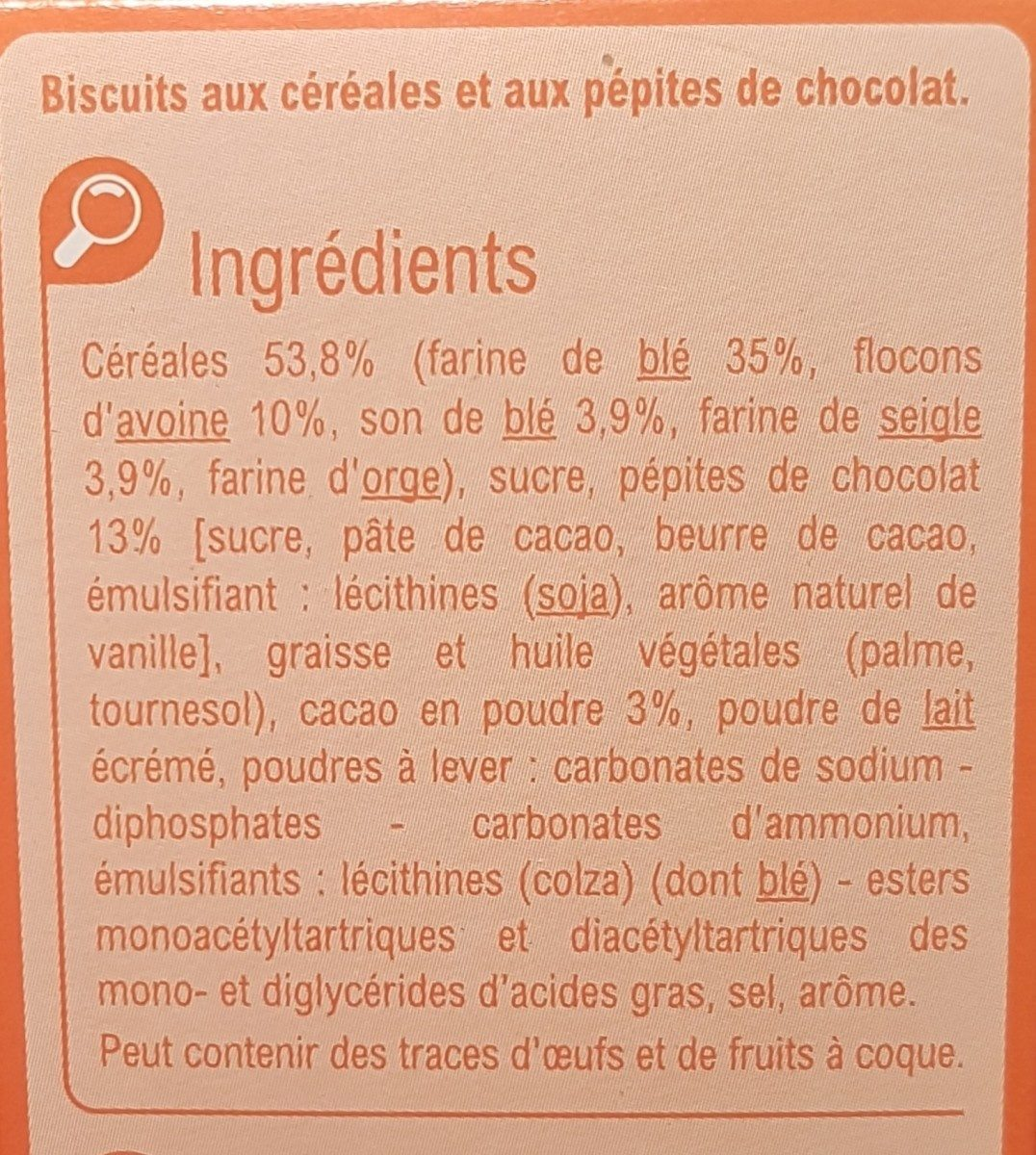 P'tit dej pepite de chocolat - Ingredients