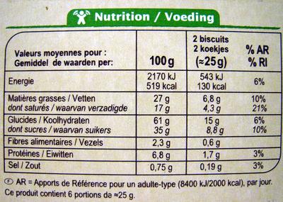 Biscuits chocolat au lait - Nährwertangaben - fr