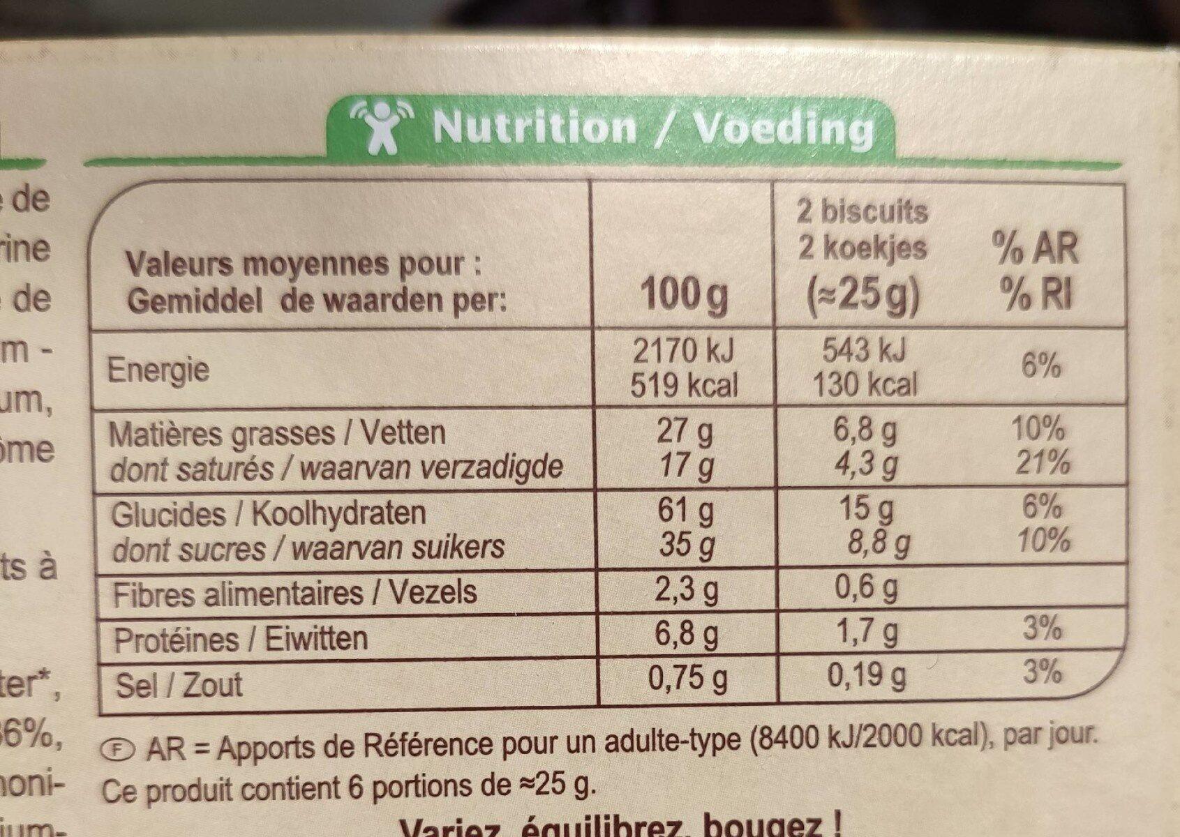 Biscuits chocolat au lait - Nutrition facts - fr