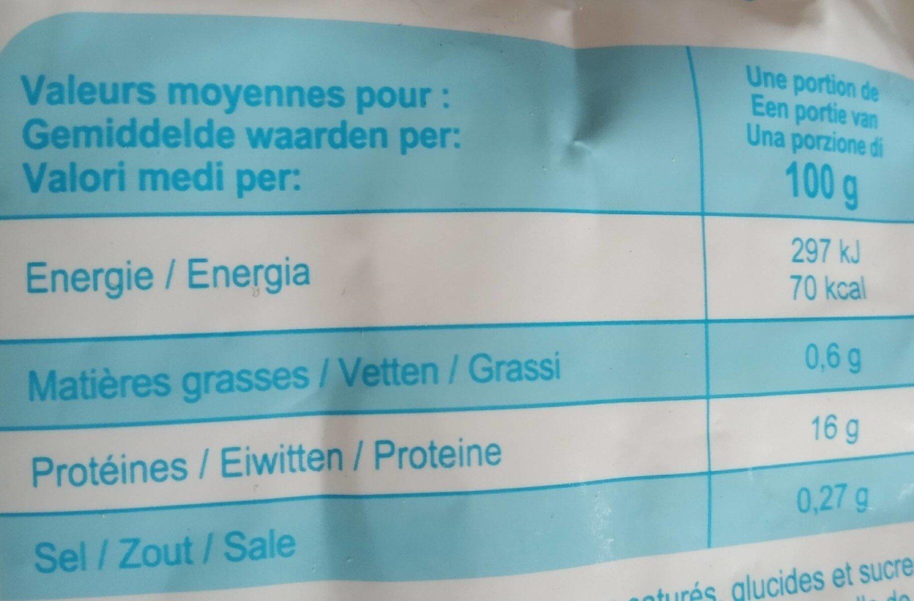 Filets de colin d'Alaska - Informations nutritionnelles - fr